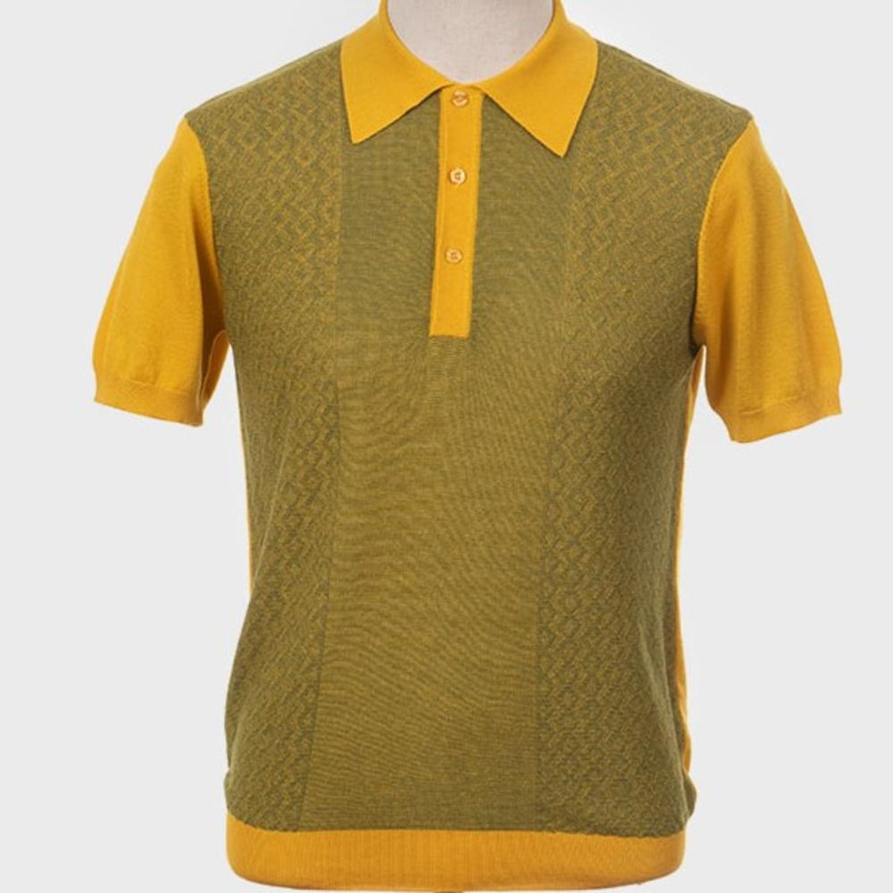 Art Gallery Fine Gauge Texture Knit Two Tone Polo Shirt Mustard