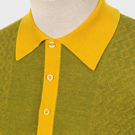 Art Gallery Fine Gauge Texture Knit Two Tone Polo Shirt Mustard Thumbnail 2