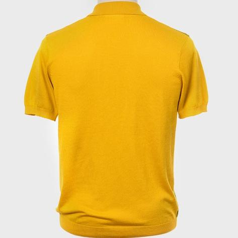 Art Gallery Fine Gauge Texture Knit Two Tone Polo Shirt Mustard Thumbnail 3
