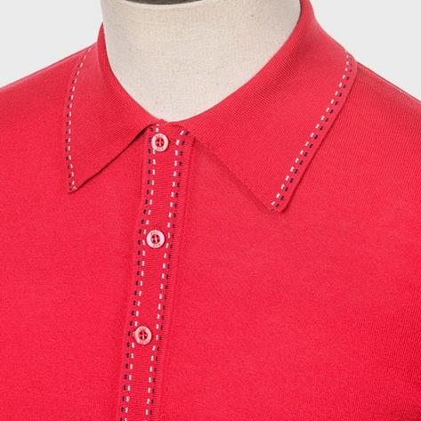 Art Gallery Fine Gauge Knit Stitch Detail Polo Shirt Red