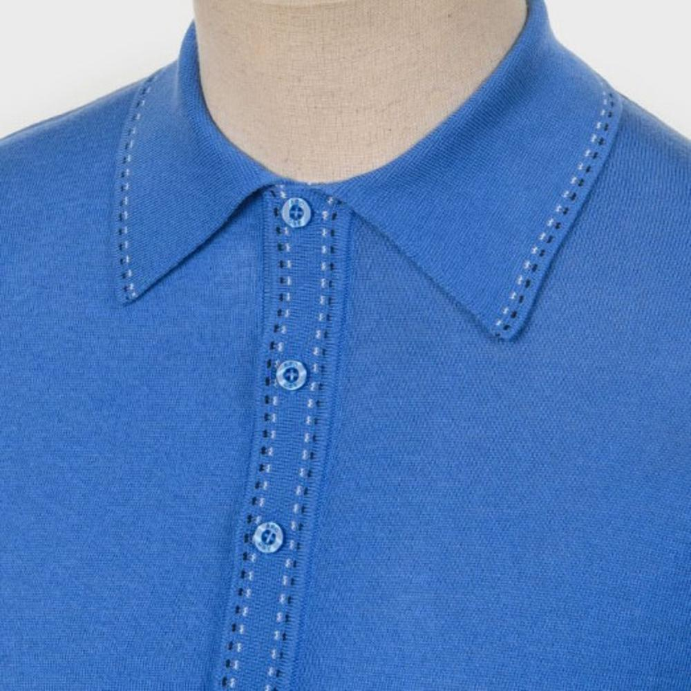 Art Gallery Fine Gauge Knit Stitch Detail Polo Shirt Bright Blue