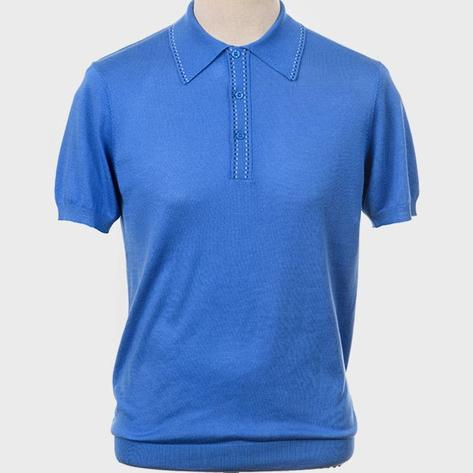 Art Gallery Fine Gauge Knit Stitch Detail Polo Shirt Bright Blue Thumbnail 2