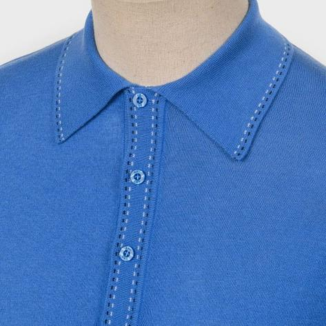 Art Gallery Fine Gauge Knit Stitch Detail Polo Shirt Bright Blue Thumbnail 1