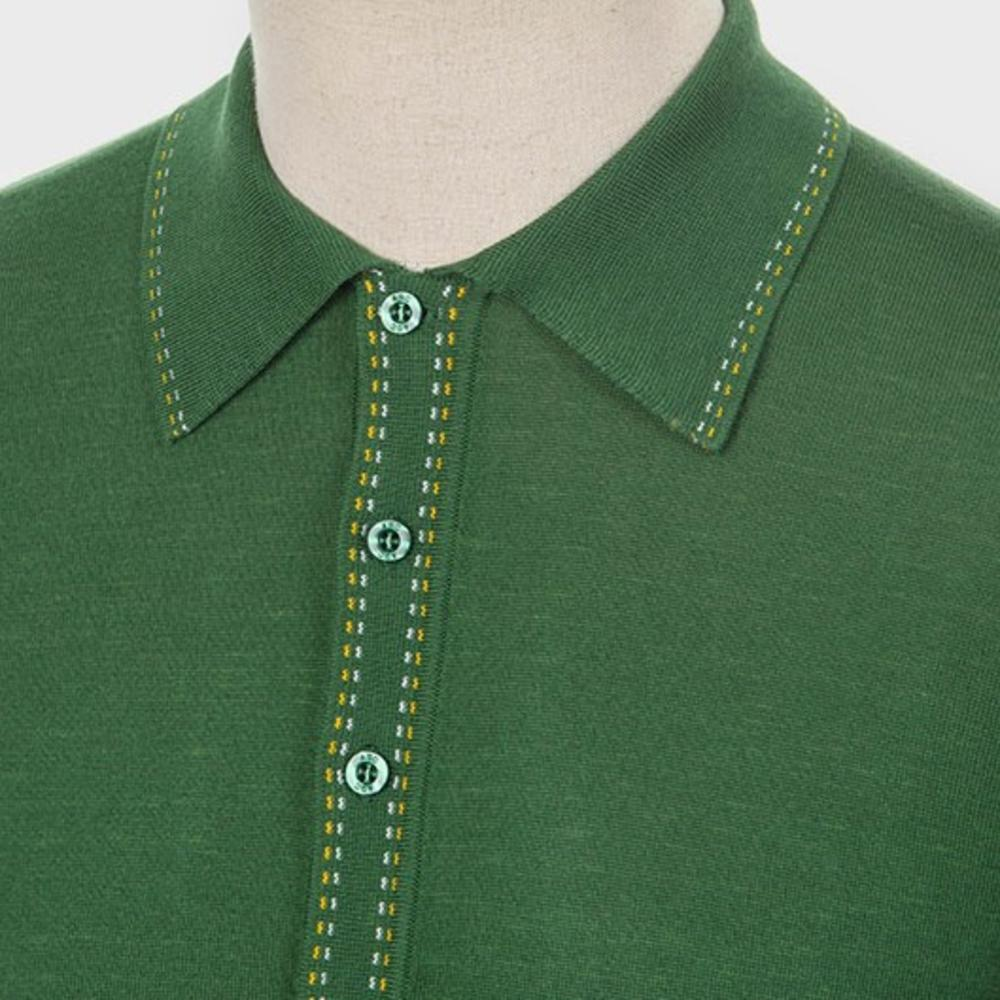 Art Gallery Fine Gauge Knit Stitch Detail Polo Shirt Isle Green