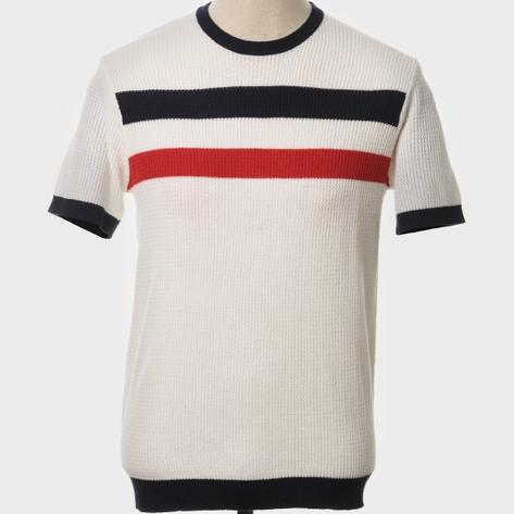 Art Gallery Mens Retro Waffle Knit Stripe Crew Neck Ecru