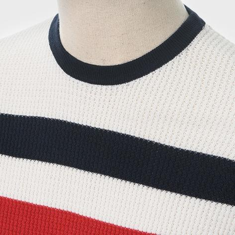 Art Gallery Mens Retro Waffle Knit Stripe Crew Neck Ecru Thumbnail 2