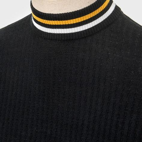 Art Gallery Mens Texture Knit Tipped Turtle Neck Top Black Thumbnail 2