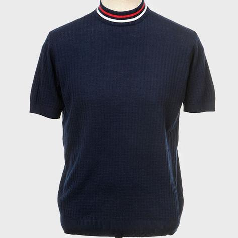 Art Gallery Mens Texture Knit Tipped Turtle Neck Top Navy