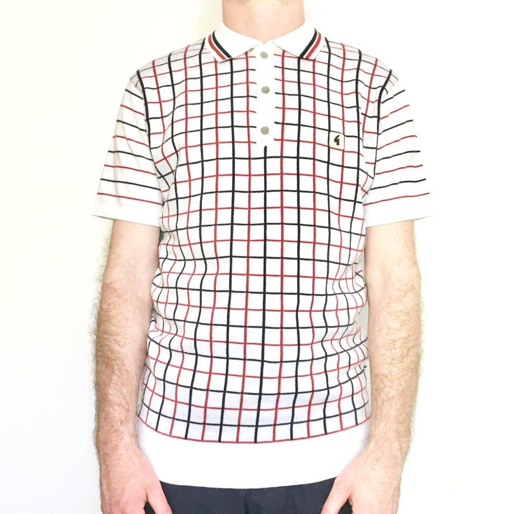 Gabicci Vintage Mens Graph Check Polo Shirt White