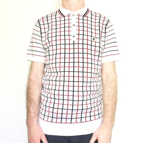 Gabicci Vintage Mens Graph Check Polo Shirt White Thumbnail 1