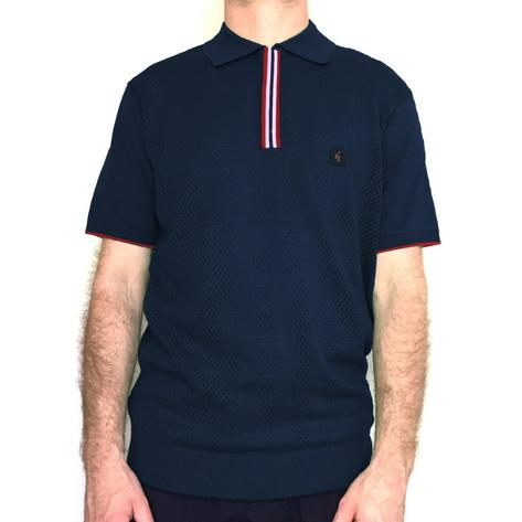 Gabicci Vintage Perforated Knit Polo Shirt Navy Thumbnail 1
