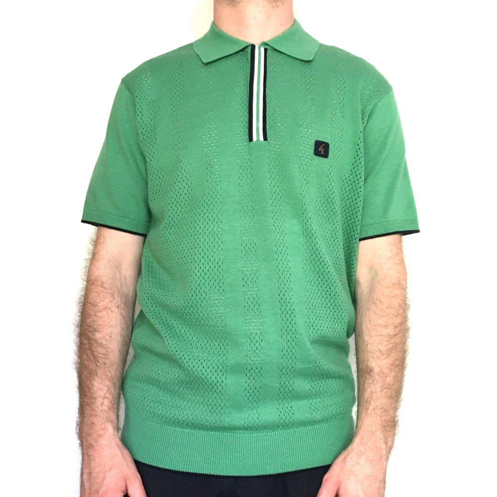 Gabicci Vintage Perforated Knit Polo Shirt Green