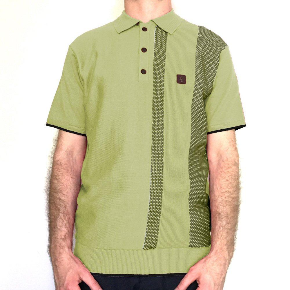 Gabicci Vintage Textured Stripe Knit Polo Shirt Green