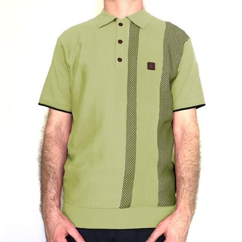 Gabicci Vintage Textured Stripe Knit Polo Shirt Green Thumbnail 1