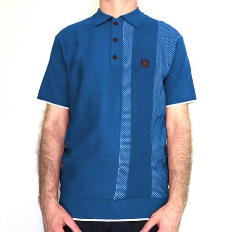 Gabicci Vintage Textured Stripe Knit Polo Shirt Blue