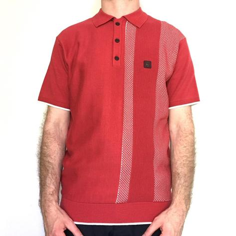 Gabicci Vintage Textured Stripe Knit Polo Shirt Deep Red