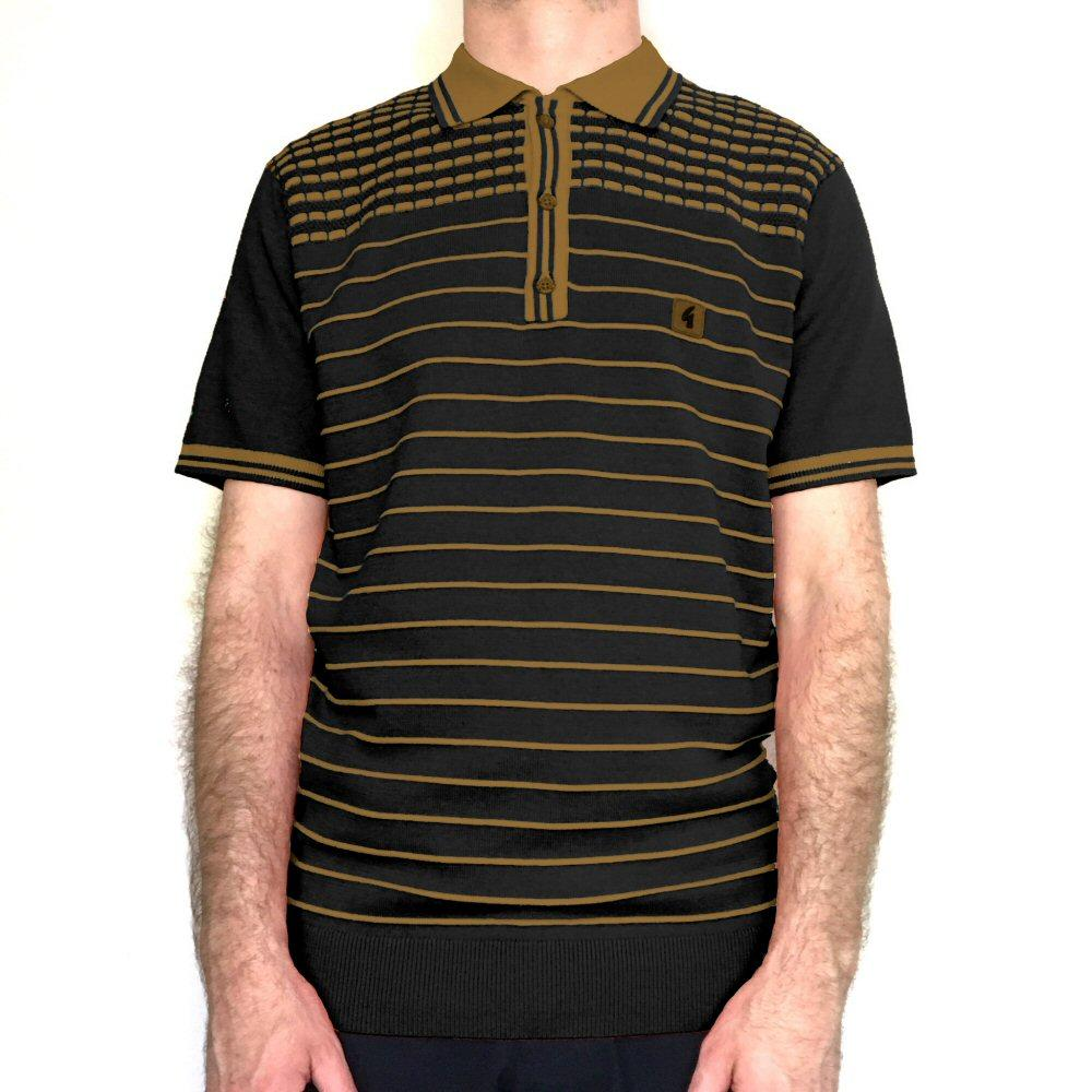 Gabicci Vintage Waffle Shoulder Stripe Knit Polo Shirt Black