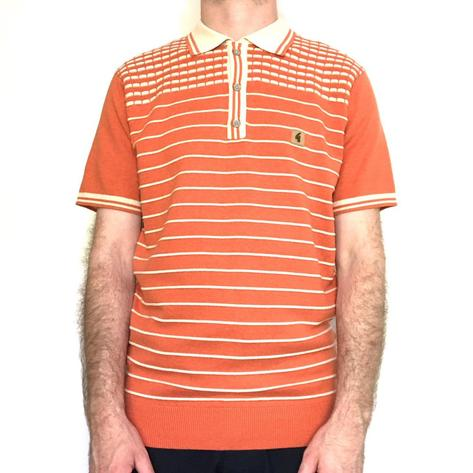 Gabicci Vintage Waffle Shoulder Stripe Knit Polo Shirt Burnt Orange Thumbnail 1