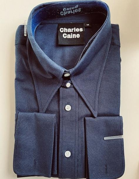 Charles Caine Oxford Spearpoint Tab Collar Shirt Navy Blue