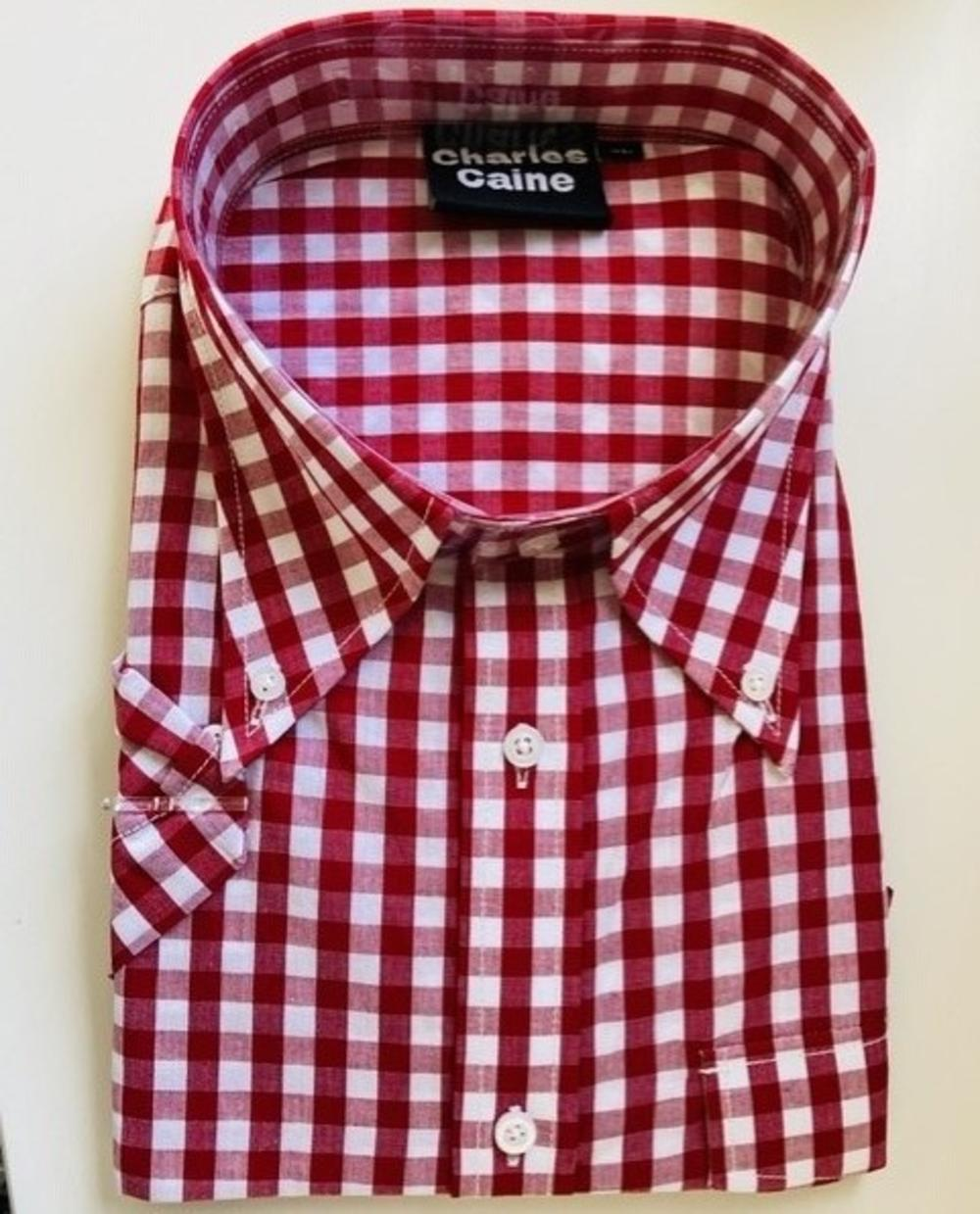 Charles Caine Gingham Button Down Short Sleeve Shirt Red