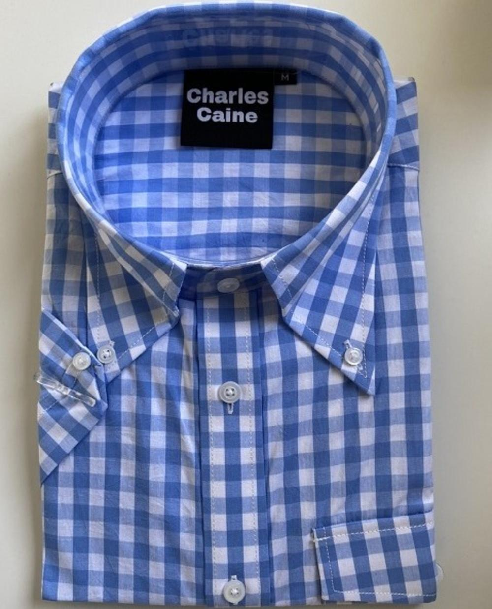 Charles Caine Gingham Button Down Short Sleeve Shirt Blue