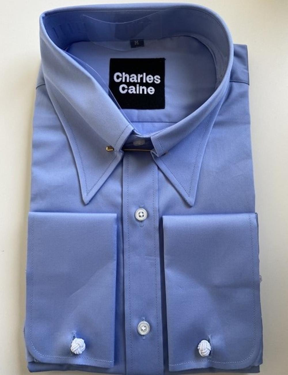 Charles Caine Sea Island Poplin Pin Spearpoint Collar Shirt Blue