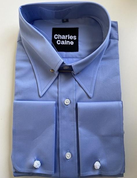 Charles Caine Sea Island Poplin Pin Spearpoint Collar Shirt Blue Thumbnail 1
