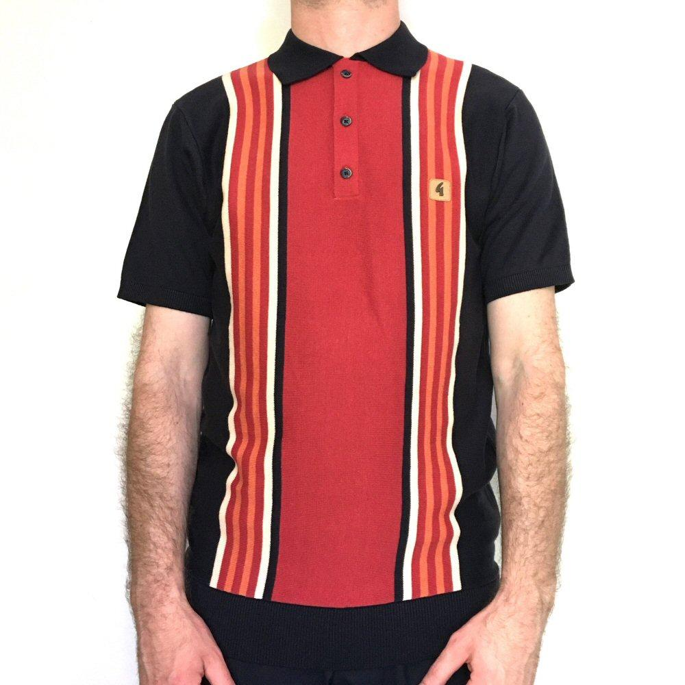Gabicci Vintage Multi Stripe 3 Button Knit Polo Navy
