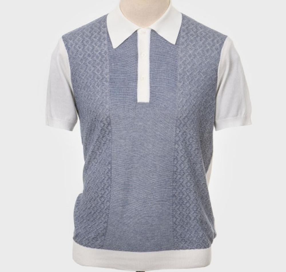 Art Gallery Fine Gauge Texture Knit Two Tone Polo Shirt Off White