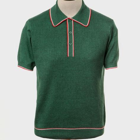 Art Gallery Fine Gauge Rib Knit Contrast Tip Polo Shirt Green Thumbnail 1