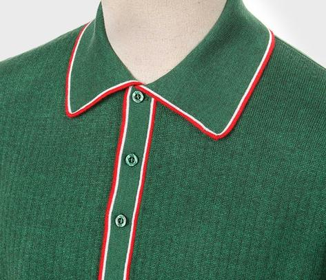 Art Gallery Fine Gauge Rib Knit Contrast Tip Polo Shirt Green Thumbnail 2