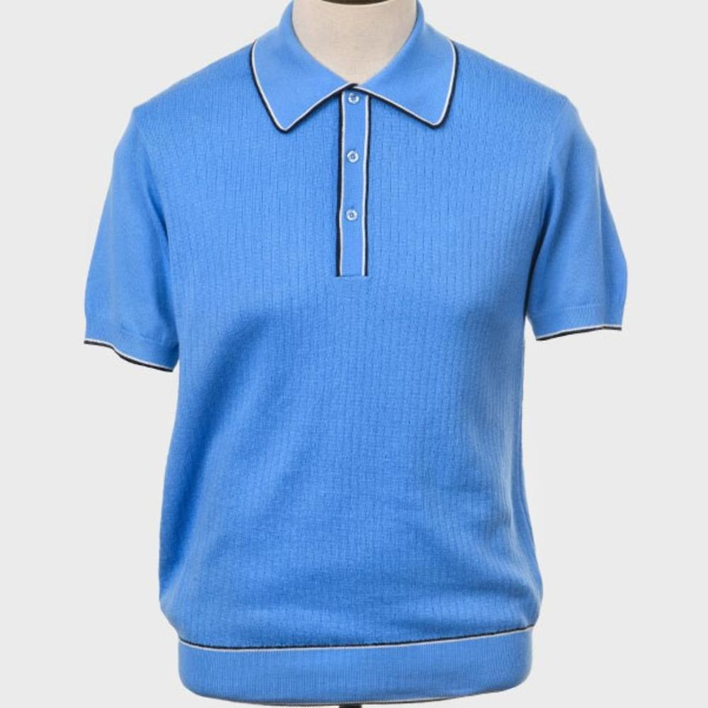 Art Gallery Fine Gauge Rib Knit Contrast Tip Polo Shirt Sky Blue