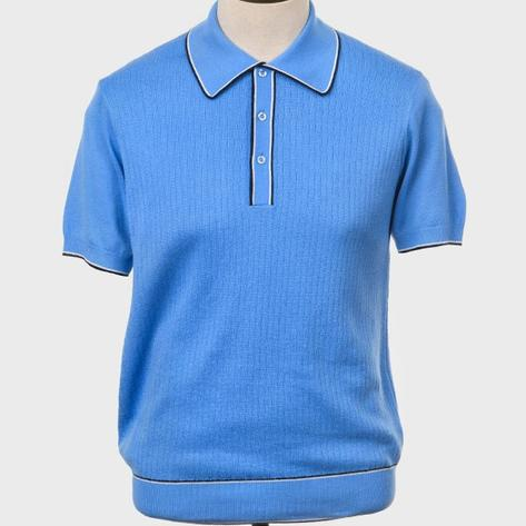 Art Gallery Fine Gauge Rib Knit Contrast Tip Polo Shirt Sky Blue Thumbnail 1