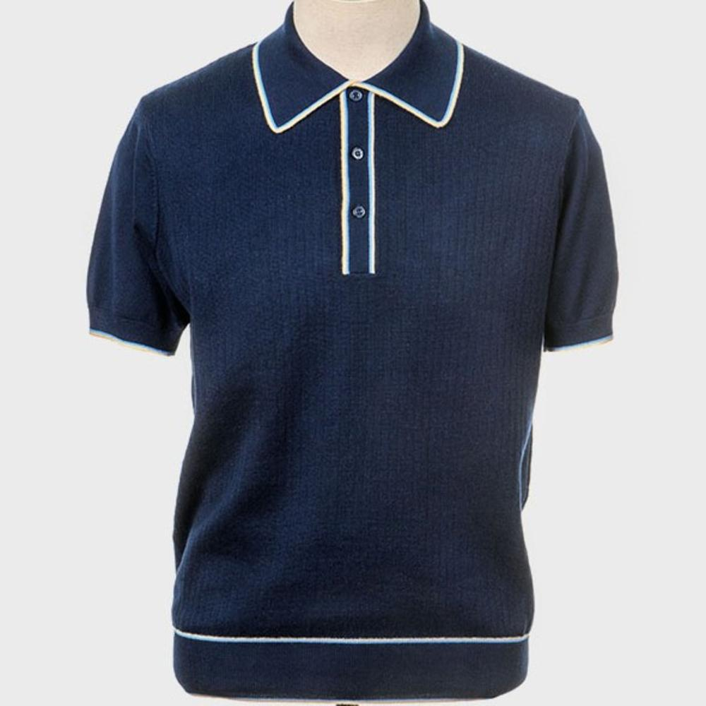 Art Gallery Fine Gauge Rib Knit Contrast Tip Polo Shirt Navy