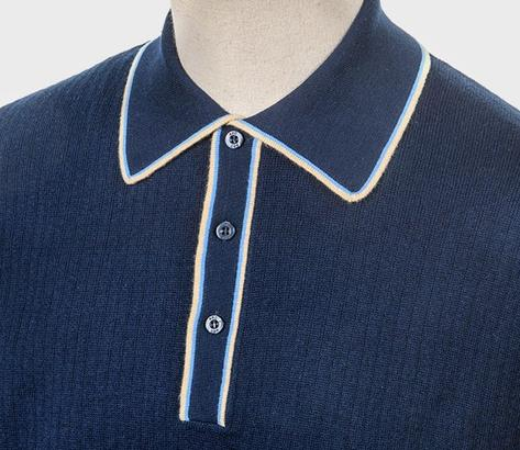 Art Gallery Fine Gauge Rib Knit Contrast Tip Polo Shirt Navy Thumbnail 2