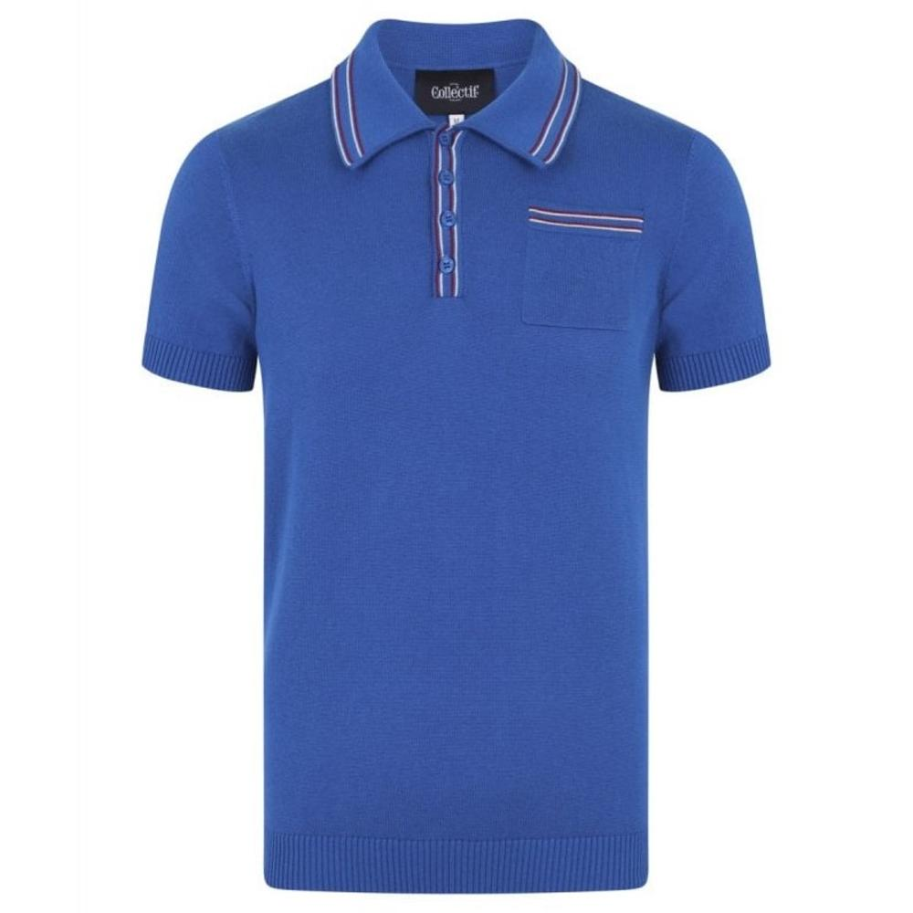 Collectif Knit Polo With Tipping And Pocket Blue