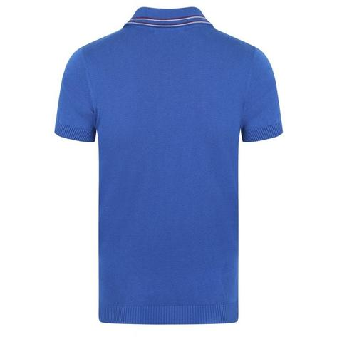 Collectif Knit Polo With Tipping And Pocket Blue Thumbnail 2