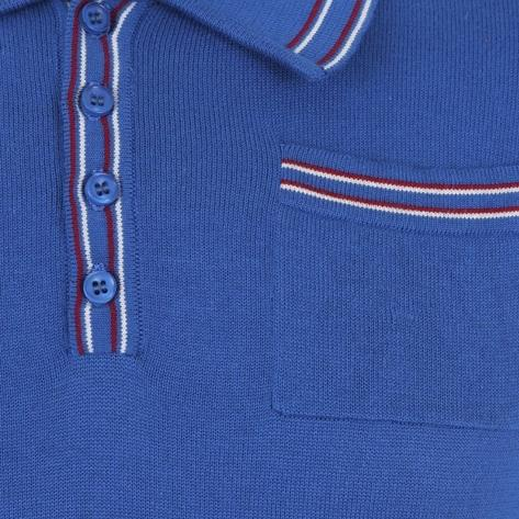 Collectif Knit Polo With Tipping And Pocket Blue Thumbnail 3