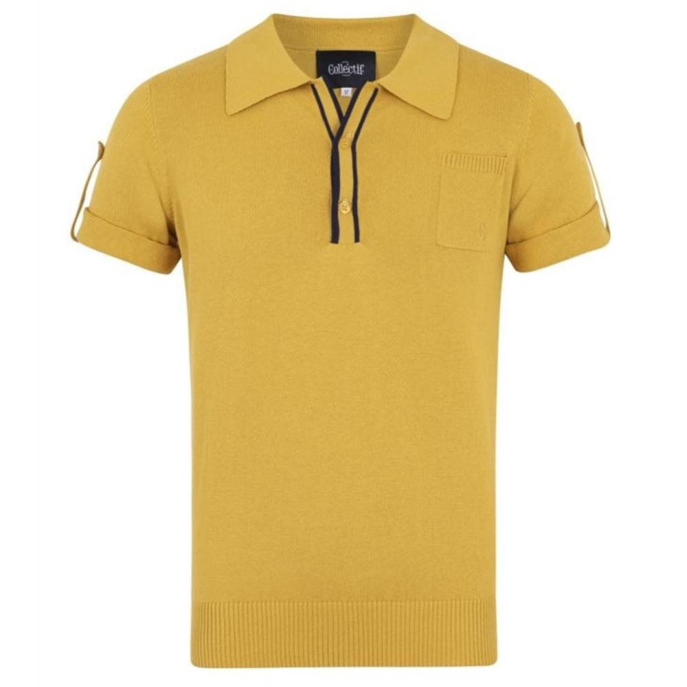 Collectif Knit Polo Tipped Placket And Breast Pocket Yellow