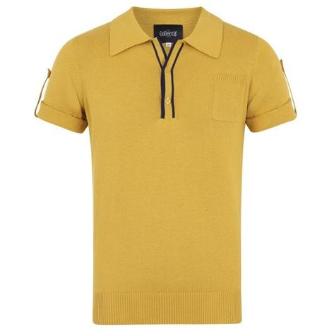 Collectif Knit Polo Tipped Placket And Breast Pocket Yellow Thumbnail 1