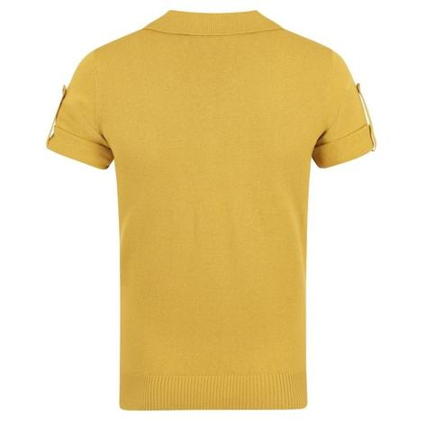 Collectif Knit Polo Tipped Placket And Breast Pocket Yellow Thumbnail 2