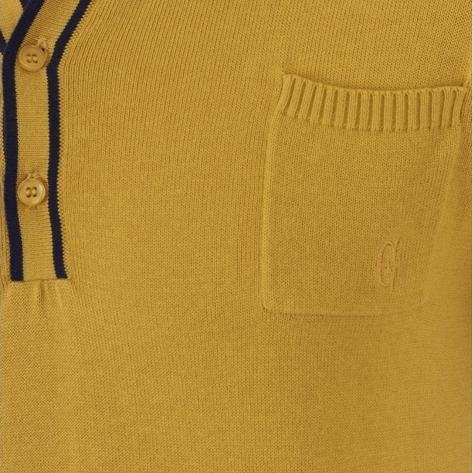 Collectif Knit Polo Tipped Placket And Breast Pocket Yellow Thumbnail 3