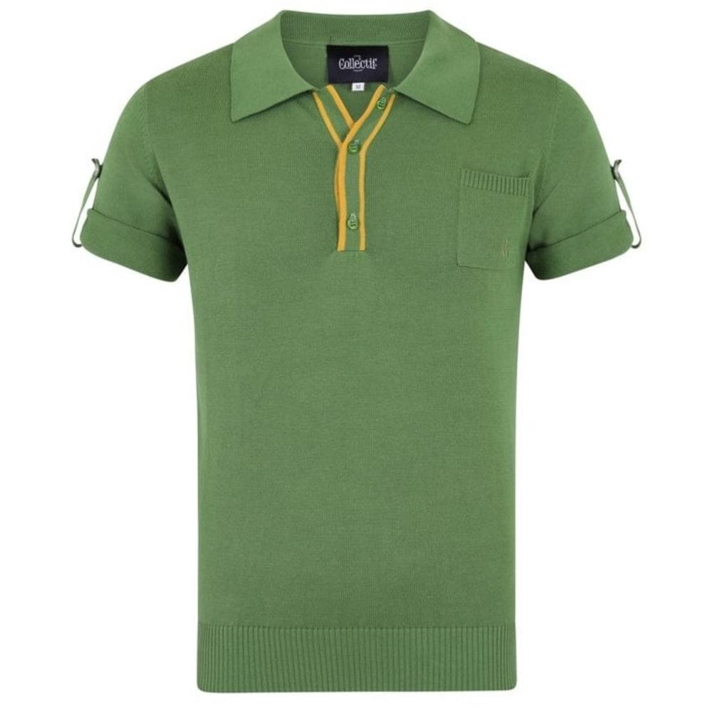 Collectif Knit Polo Tipped Placket And Breast Pocket Green