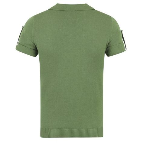 Collectif Knit Polo Tipped Placket And Breast Pocket Green Thumbnail 2