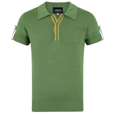 Collectif Knit Polo Tipped Placket And Breast Pocket Green Thumbnail 1