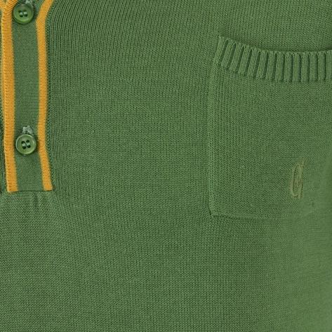 Collectif Knit Polo Tipped Placket And Breast Pocket Green Thumbnail 3