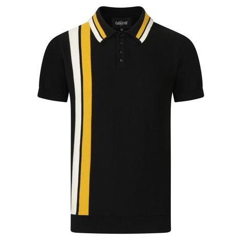 Collectif Racing Stripe Knit Polo Black