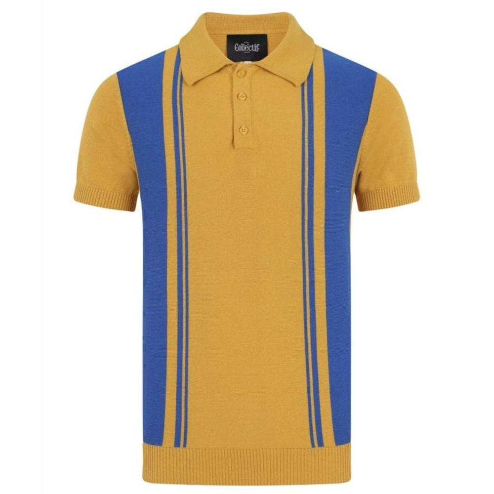 Collectif Irregular Stripe Knit Polo Yellow and Blue