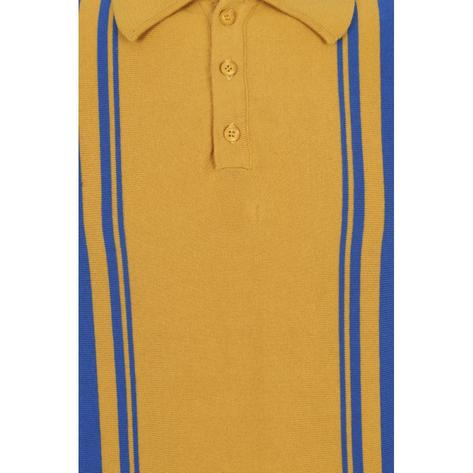 Collectif Irregular Stripe Knit Polo Yellow and Blue Thumbnail 3