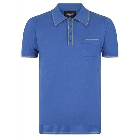 Collectif Fine Gauge Knit Polo Contrast Tipping Blue